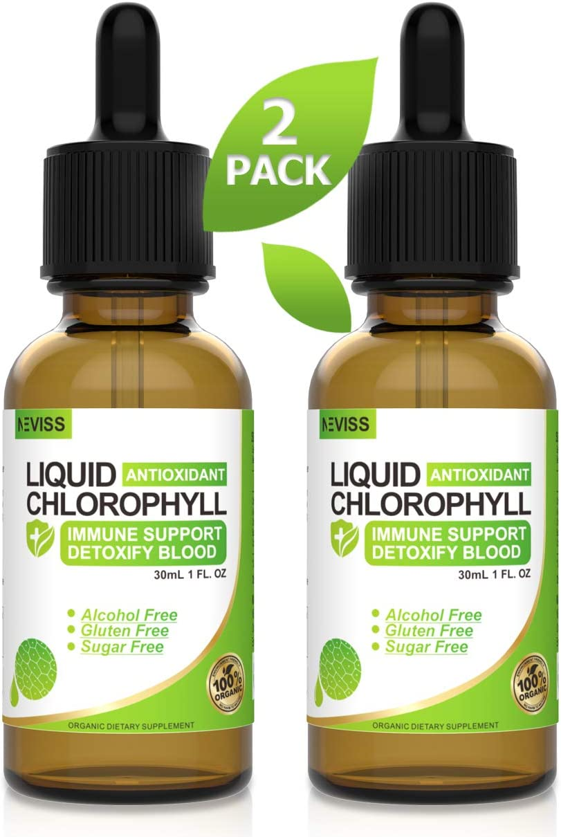 2 Pack Chlorophyll Liquid Drops – Internal Deodorant, Altitude Sickness, Intestinal Detox – Vegan
