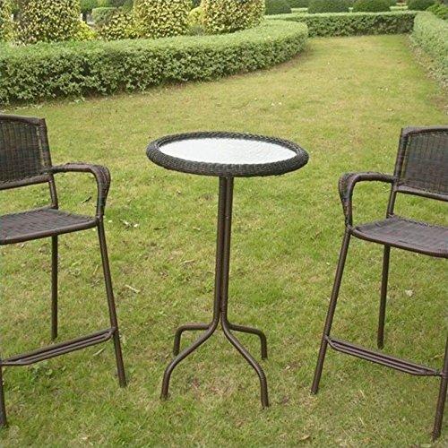 International Caravan Resin Wicker Bar-Height Outdoor Bistro Table Mocha
