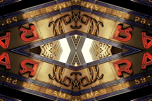 Radio Photos City Hall Music - Kaleidoscopic Image Radio City Music Hall Sign Photo Art Print Poster 36x24 inch