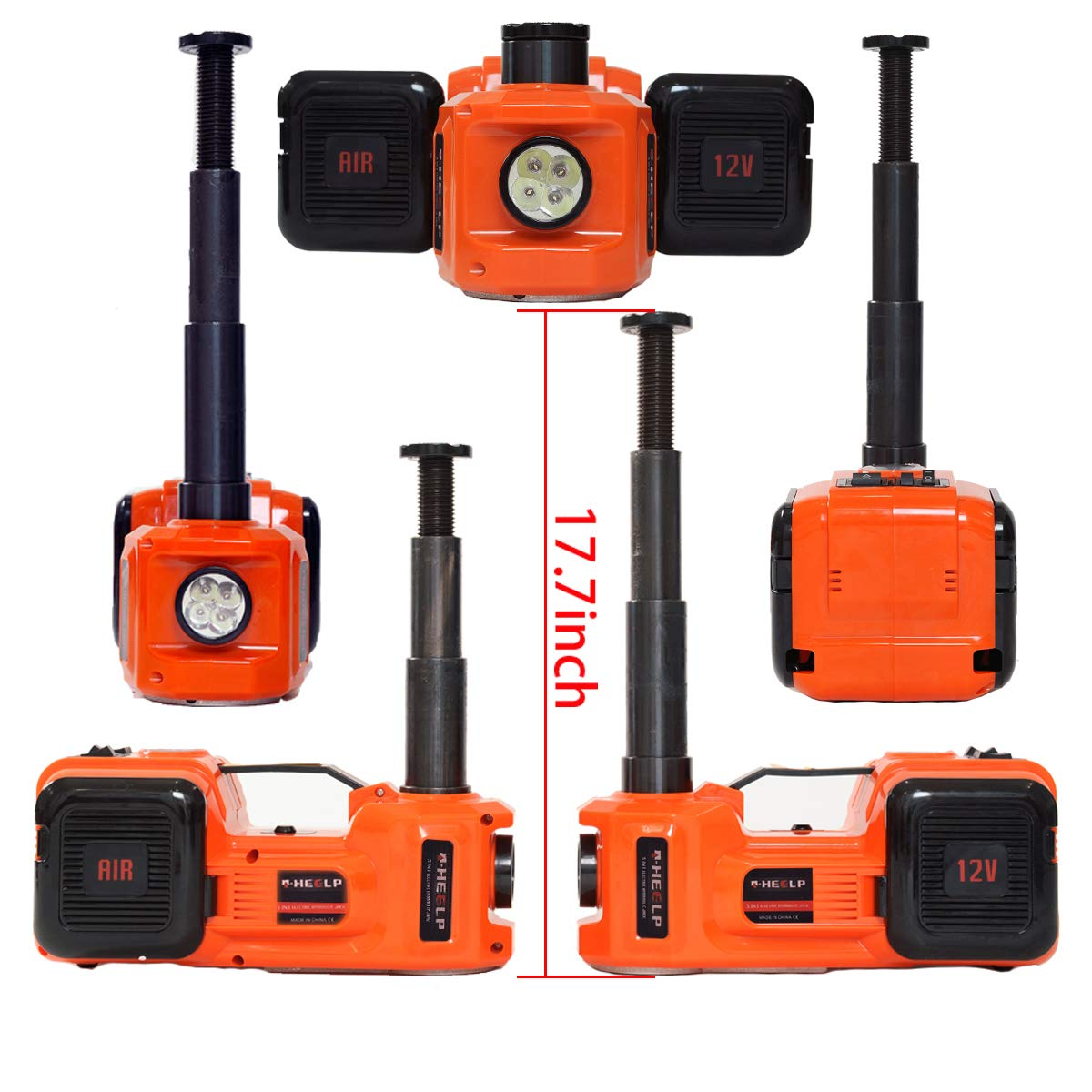 11000lb E-HEELP 5.0T 12V DC Electric Hydraulic Floor Jack and Tire Inflator Pump and LED Flashlight 3 in 1 Set Tool Kit ZSJACK 5559006752