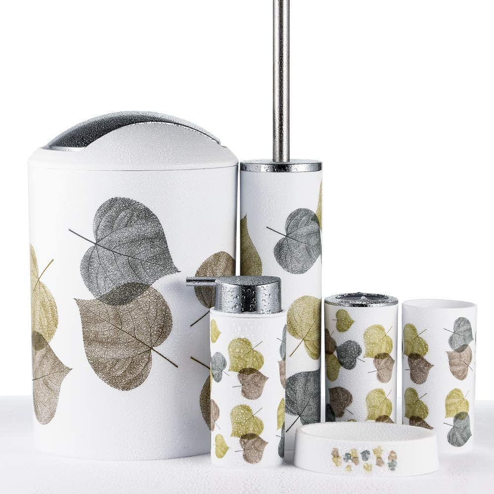 Jotom Modern Design 6 Piece Plastic Bathroom Accessory Set Luxury Bath Accessories Bath Set Lotion Bottles Toothbrush Holder Tooth Mug Soap Dish Toilet Brush Rubbish Gold And Silver Leaves Amazon Co Uk Kitchen Home