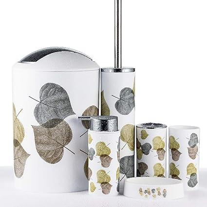 JOTOM Juego de Accesorios de Baño 6 Piezas, Cubo de Basura, Jabonera, Dispensador de jabón, Vaso, Vaso para Cepillo de Dientes y escobilla (Hoja)