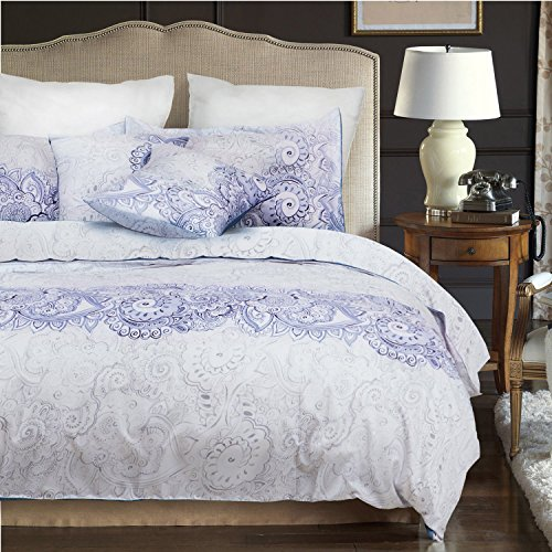 Paisley Duvet Cover Set, Purple Gray Grey Pattern Printed on White, Soft Microfiber Bedding with Zipper Closure (3pcs, Twin Size) (Bed Paisley Linen)