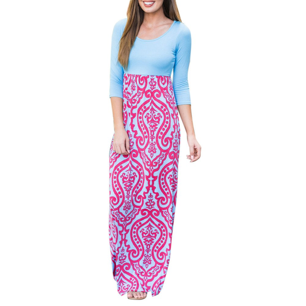 JESPER Womens Striped Long Boho Dress Lady Beach Summer Sundrss Maxi Straight Dress Hot Pink