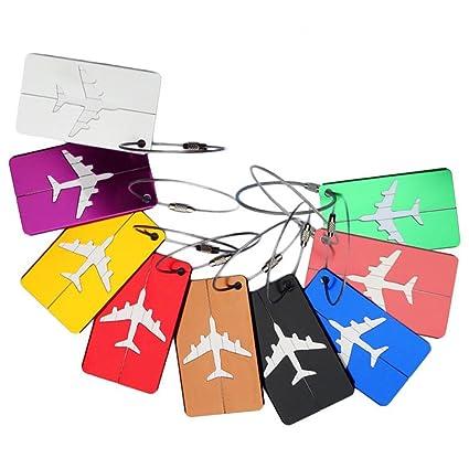 Etiquetas de equipaje etiquetas tarjeta de nombre para maletas, 6pcs de alto pulido fuerte aluminio