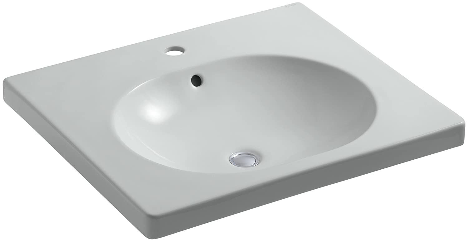 KOHLER K-2957-1-NY Persuade Circ Integrated Bathroom Sink with Single-Hole Faucet Hole Drilling Dune