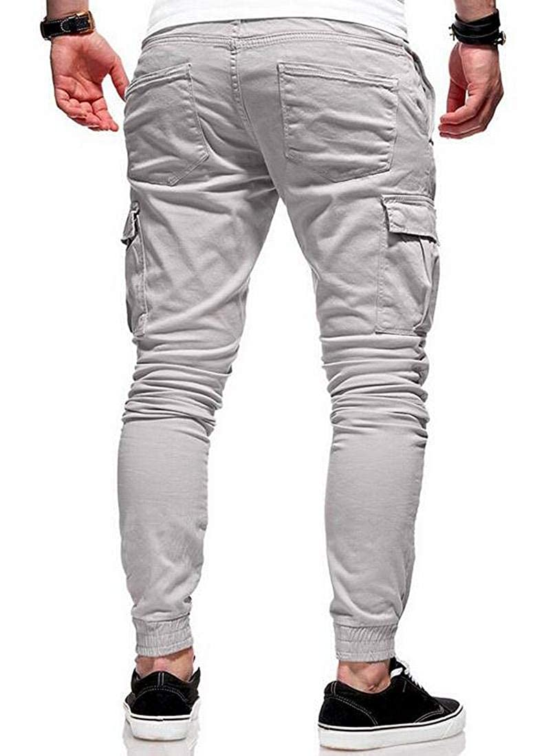 BYWX Men Multi-Pocket Plus Size Leisure Straight Leg Cargo Jogger Pants