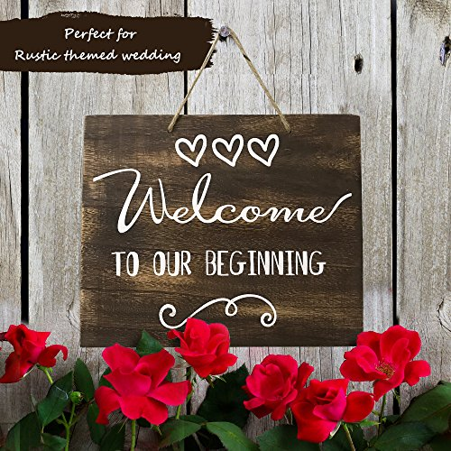 JennyGems Welcome To Our Beginning Sign - Wedding Ceremony and Reception Decorations - Ring Bearer Signs - Flower Girl Signs - House Warming Party Sign - Rustic