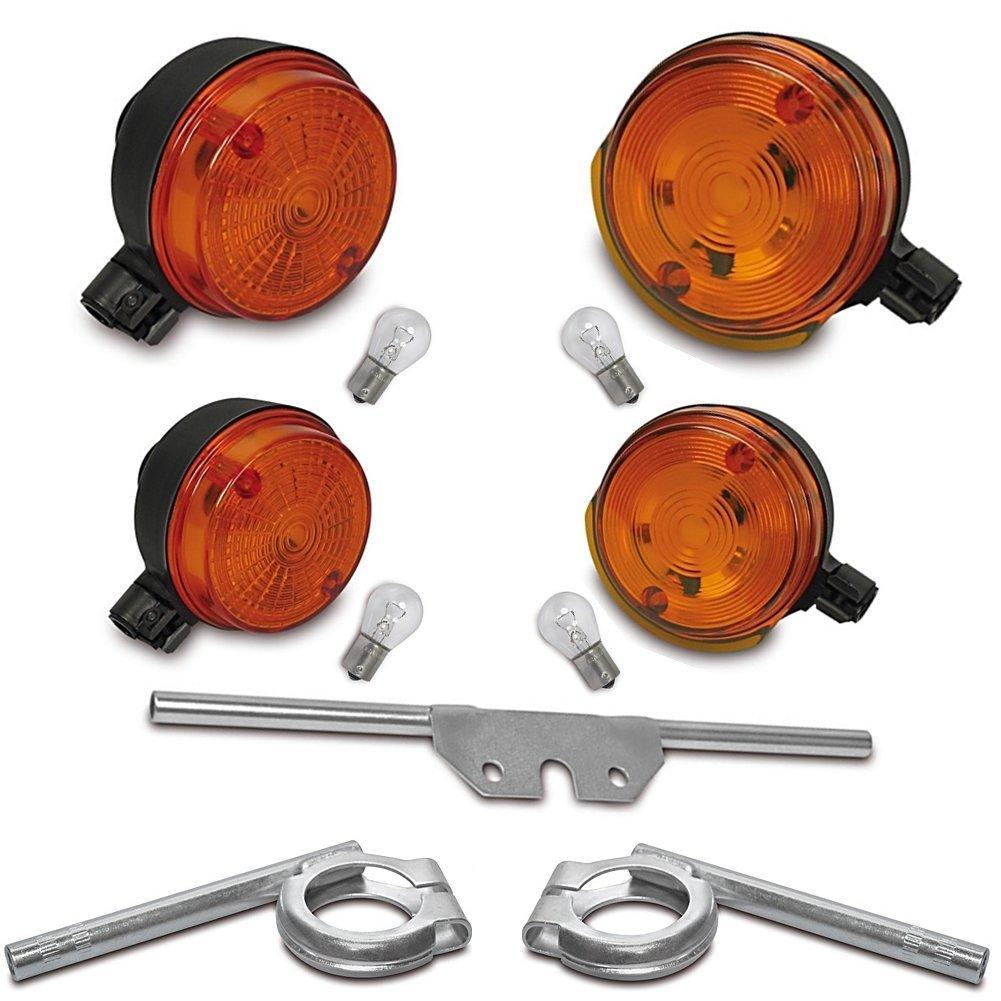 Lampen Ba15s f/ür SIMSON S50 S51 SR50 2x Hinten + 3 Halter Orange 12V Blinker Umbau SET mit E-Pr/üfzeichen: 2x Vorn