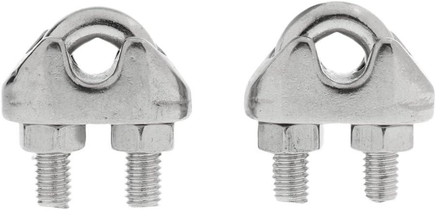 SM SunniMix Lot de 2pcs Robuste Serre C/âble en Acier Inoxydable Galvanis/ée pour Filin Cable