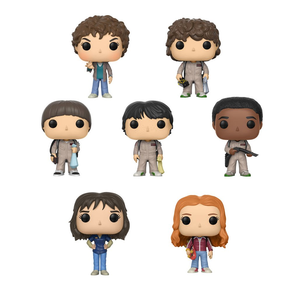 Funko Pop Stranger Things Season 2 Set - Will, Dustin, Lucas, and Mike in Ghostbuster attire, Joyce, Eleven, and Max featured with skateboard