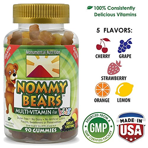 Nommy Bears: Vegetarian Gummy Vitamins for Kids (& Adults too) *Natural Ingredients *Non-Gelatin *Non-Guten *Non-Dairy *90 Count *Delicious & Nutritious *Safely Formulated in USA Yummy Gummy Bear