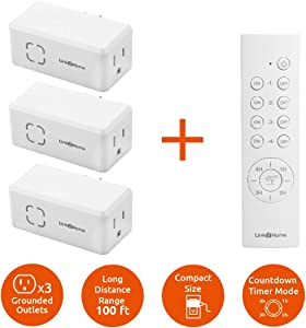 Link2Home Wireless Remote Control Outlet Light Switch, Countdown Timer and Random Function, 100 ft range.