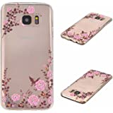 Galaxy S7 Edge Cover, KKEIKO® Galaxy S7 Edge Case, Flexible Soft TPU Protective Cover, Bumper Shell Ultra Thin Skin Case for Samsung Galaxy S7 Edge with Free Tempered Glass Screen Protector (Flower)