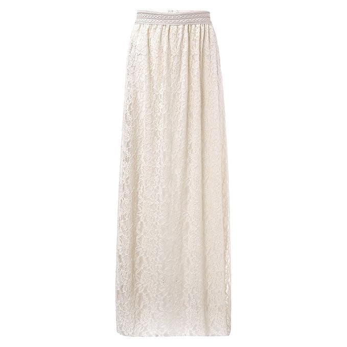 f378736da Oudan Vestido de Encaje de Las Mujeres una Línea Elegante Falda ...