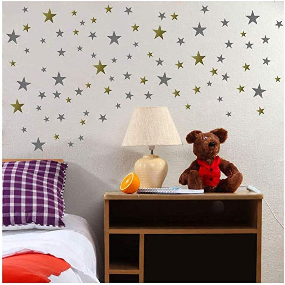 Stars Wall Decals (264 Decals) Wall Stickers Removable Home Decor Easy to Peel Stick Painted Walls Metallic Vinyl Polka Wall Decor Sticker for Baby Kids Bedroom (Silver/Gold Stars) (Gold&Silver)