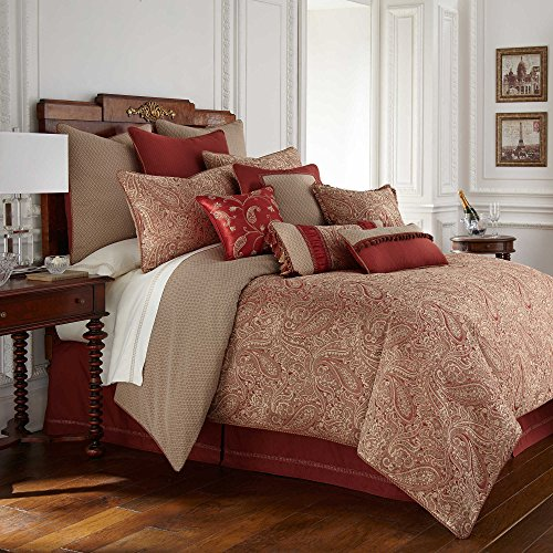 (Waterford Fine Linens Luxury Classic Bed Skirt Bedding Cavanaugh Collection (Burgundy, Queen))