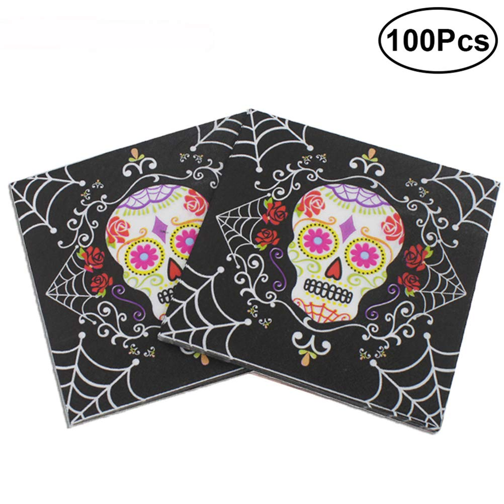 BESTOYARD 100pcs Flower Skull Disposable Luncheon Paper Napkins Printed Napkins Halloween Theme Party Supplies
