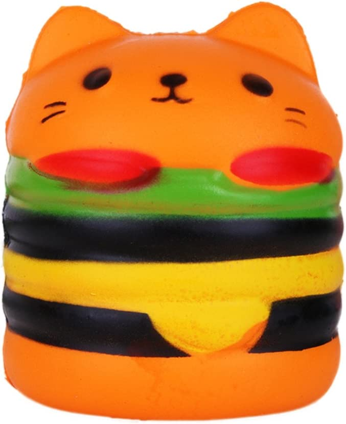 Brave669 Scented Hamburger Cat Slow Rising Squeeze Toy Kids Adult Stress Reliever