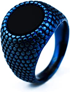 Rounded Polka Ring for Men, Anti Scratches, Rust and Water Resist Size - Blue