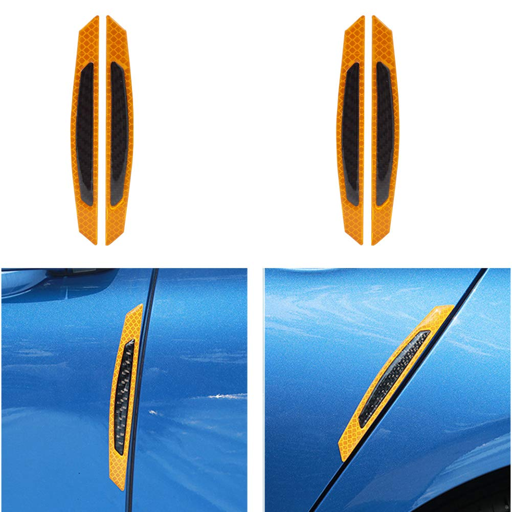 Goushine Bumper Guard Protector 3D Reflective Stickers Yellow Carbon Fiber Strips Black Universal Car Side Door Edge Bumper Anti-Scratch Protection Guards Trim Stickers Pack of 4