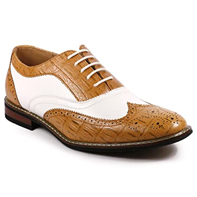 Metrocharm Frank-03 Men's Two Tone Wing Tip Perforated Lace Up Oxford Dress Shoes | Oxfords