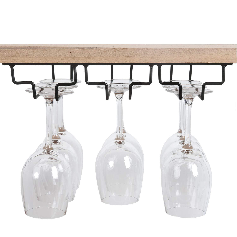 Asense Wine Glass Stemware Rack Hanger Under Cabinet Storage Home Bar, 3 Slots, Holds up to 6-9 Wine Glasses Stemware, Chocolate Color