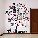 Alicemall Adesivi Murali Adesivo da Parete Wall Sticker in Acrilico Rimovibile a Forma di Albero con Rami Incurvati e Cornici Porta Foto Stile 2 Rosso
