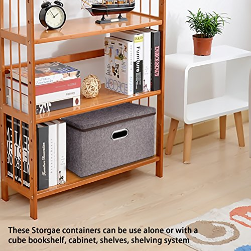 Large Linen Fabric Foldable Storage Container [2-Pack] with Removable Lid and Handles,Storage bin box cubes Organizer - Gray For Home, Office, Nursery, Closet, Bedroom, Living Room by Baseshop (Image #5)