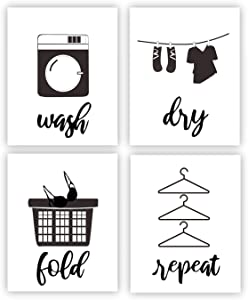 """Laundry Quote Art Print Wash Dry Fold Repeat Laundry Room Sign Canvas Wall Art Set of 4 (8""""X10"""" Laundry Room Bathroom Decor (Unframed)"""