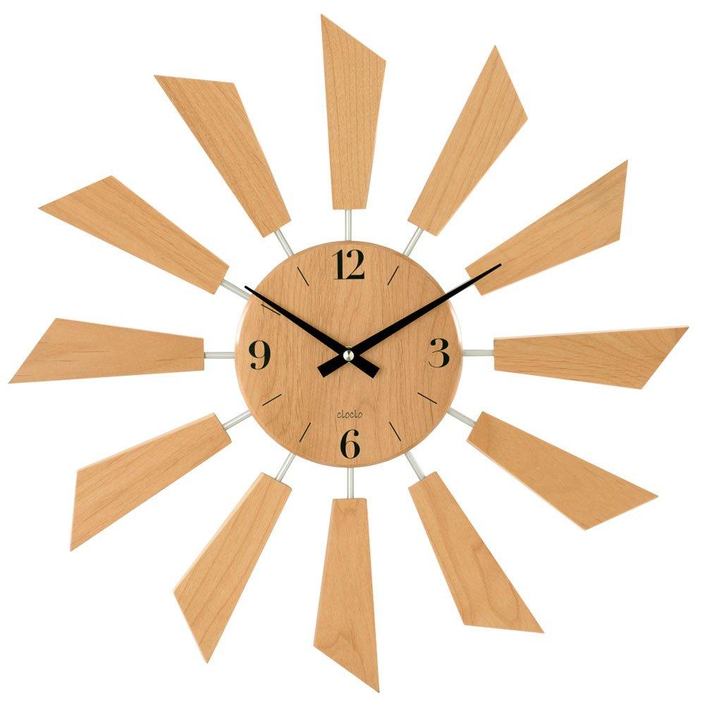壁掛け時計 アナログ 丸型 時計 掛け時計 ウォールクロック クロック 秒針なし 木目調 生活雑貨 おしゃれ ナチュラル B01E3G0T0C ナチュラル ナチュラル