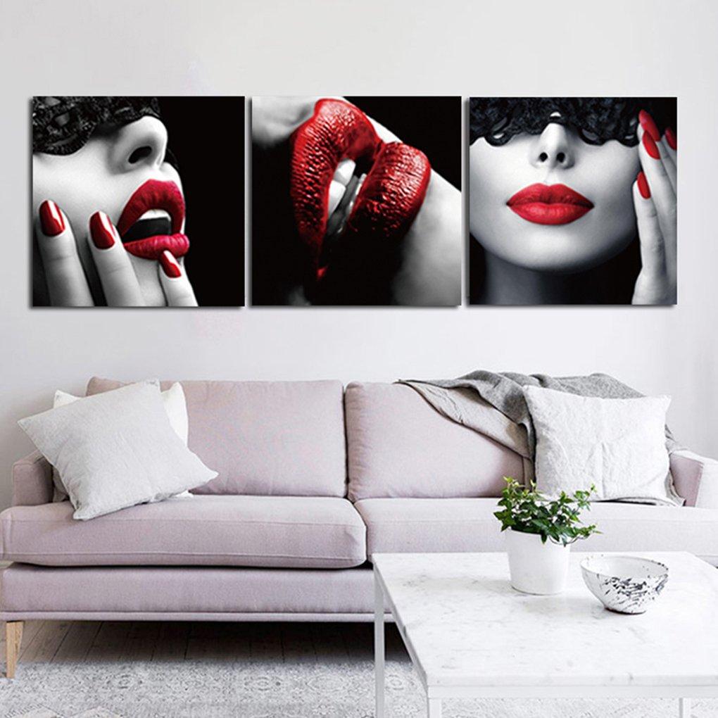 Floridivy 3 Panels No Frame rote Lippen /Öl Bild HD-Druck-Plakat-Wand-Anstrich Frameless Restaurant dekoratives /Öl Zeichnung