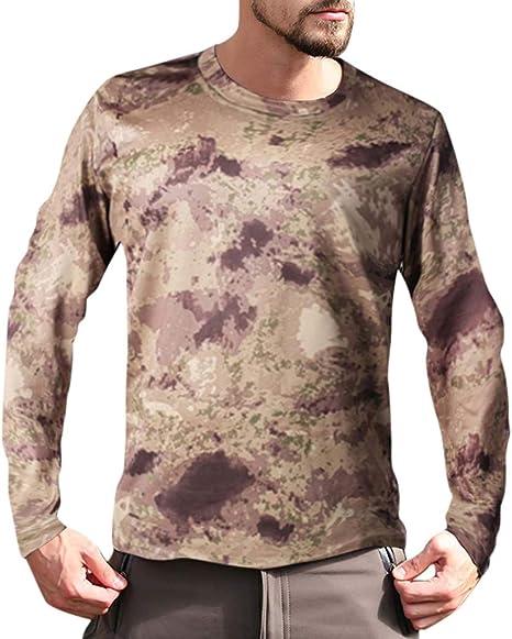 Sylar Camiseta Hombre Manga Larga Camisetas De Camuflaje Secado Rápido Camisetas Cuello Redondo Slim Camisa Hombre Al Aire Libre Camisa Escocesa De Hombre Otoño Casual Tops De Blusa para Hombre: Amazon.es: Ropa