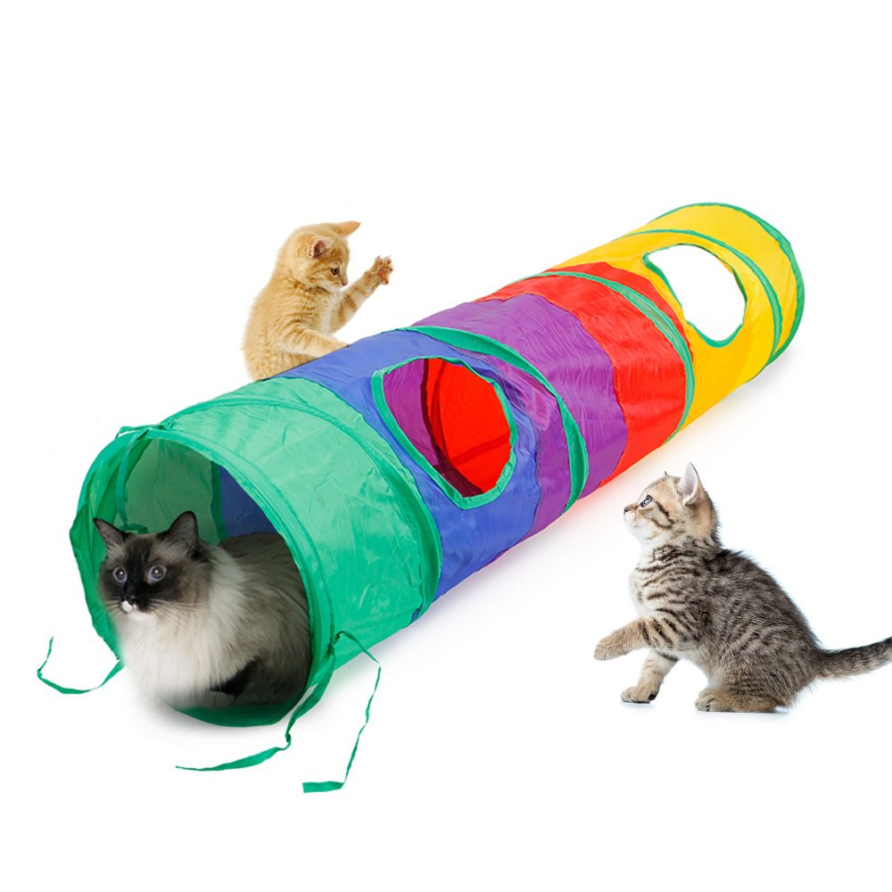 Ace one Cat Tunnel Pet Tube Collapsible Play Toy Indoor Outdoor Kitty Puppy Toys for Puzzle Exercising Hiding Training and Running with Fun Ball and Two Peek Hole