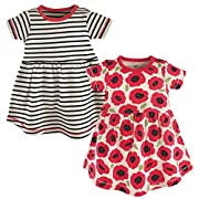 Touched by Nature Baby Girls 2-Pack Organic Cotton Dress, Red Poppy, 9-12 Months