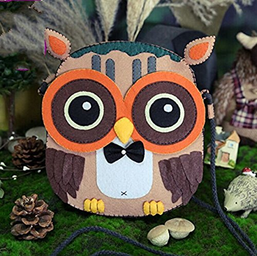 DIY Sewing Polyester Felt Nonwoven Fabric Craft Kit Doll Kits : Make Your Own owl satchel bag by Neutral