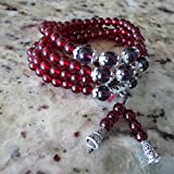 6mm*108 Buddhist Garnet Stone Prayer Beads Mala Bracelet Necklace Loose Head