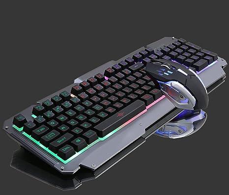 jiangu Juego teclado y ratón, teclado mecánico de Feel, ordenador sobremesa con cable teclado
