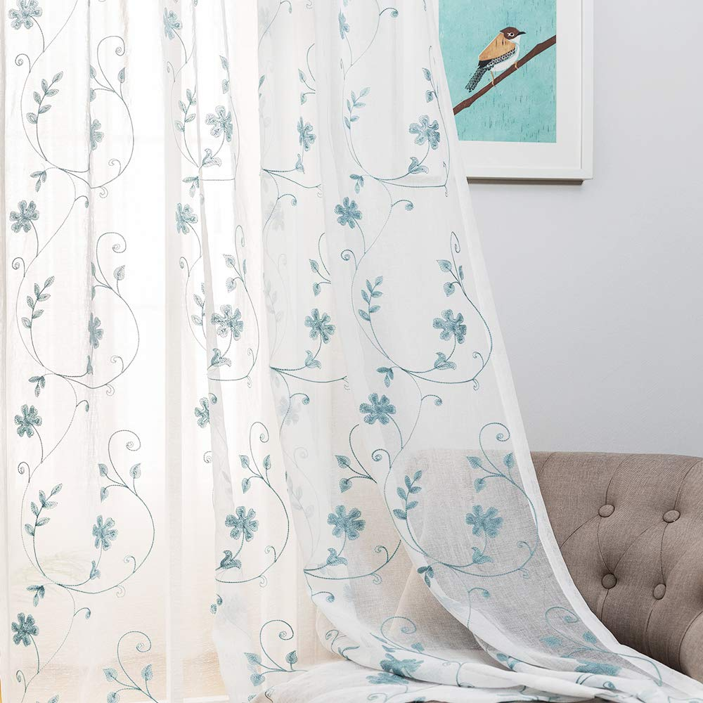 """Floral Embroidery Sheer Curtains Blue 63 Inches, Rod Pocket Voile Drapes for Living room, Bedroom, Window Treatments Semi Crinkle Curtain Panels for Yard, Patio, Villa, Parlor, Set of 2, 52""""x 63""""."""