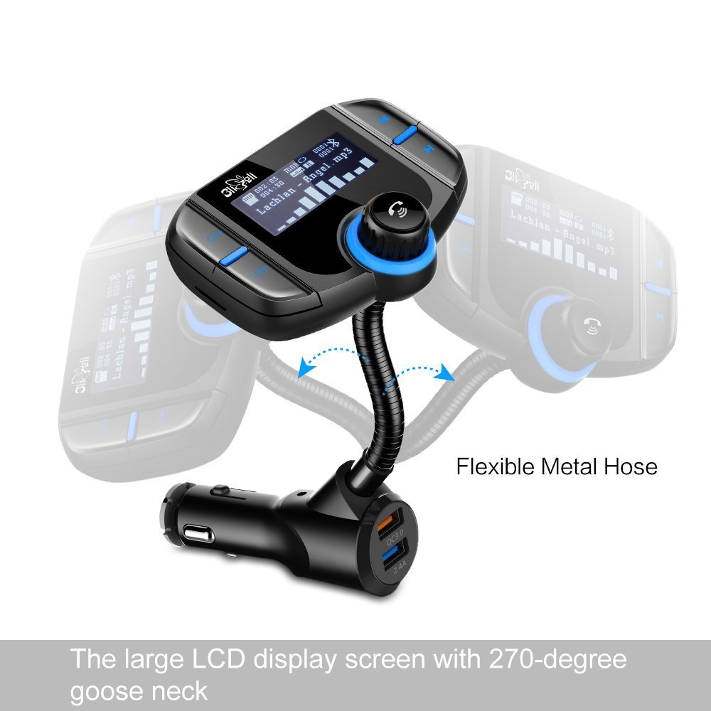 (Upgraded Version) Bluetooth FM Transmitter, Bligli Wireless Radio Adapter Hands-free Car Kit with 1.7 Inch LCD Display Screen, QC3.0 and 2.4A Dual USB Ports, AUX Input/Output, TF Card Mp3 Player