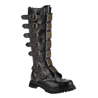 Amazon.com | Mens Black Leather Combat Boots Steampunk Knee High ...