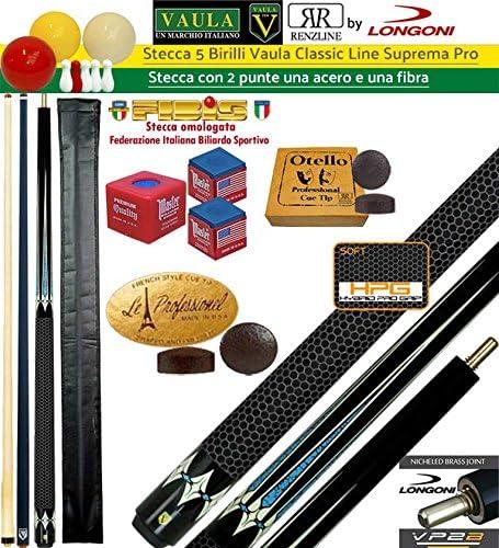 Taco 5 Birilli y 9 birilli-goriziana Billar Internacional Longoni Vaula suprema Pro, 2 puntas, acero y fibra de carbono. Homologado conos fibis, con accessorii de uso y omaggi: Amazon.es: Deportes y aire