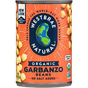 Westbrae Natural Organic Garbanzo Beans, No Salt Added, 15 Oz (Pack of 12)