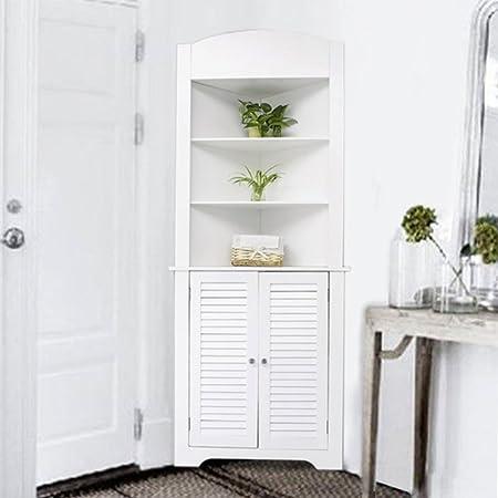 LIFE CARVER® White Tall Living Room Corner Unit Display Shelves and Storage  Cabinet kitchen Cabinet&Cupboard Bathroom Storage