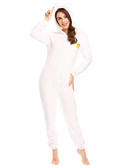 c7f88518f3f5 Amazon.com  Hufcor Women s Fleece Hooded Onesie Pajamas Jumpsuit ...