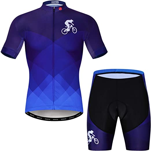 Mens Pro Team Cycling Jersey Set Top /& Shorts Kits MTB Quick-Dry Sportswear Suit