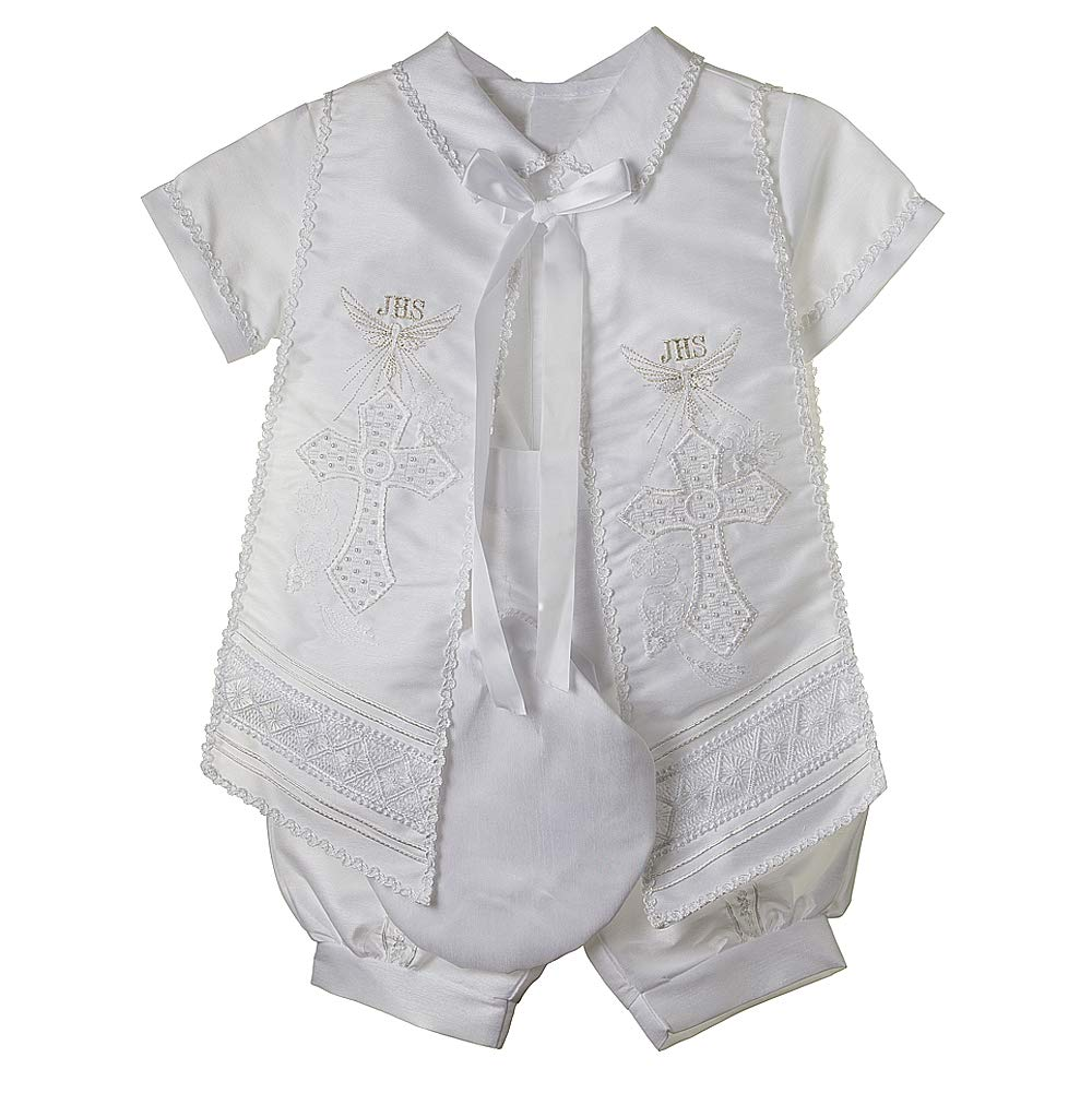 Baptism Outfit for Boy, 4 Piece Christening Set, Traje de Bautizo. RUS 905 (12mo, WHT) by Details and Traditions