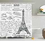 Ambesonne Paris Decor Shower Curtain Set, Traditional Famous Parisian Elements Bonjour Croissan Coffee Eiffel Tower Illustration, Bathroom Accessories, 69W X 70L Inches, Black White