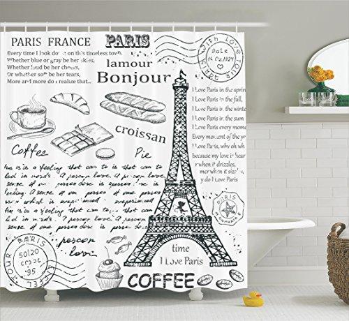 (Ambesonne Paris Decor Shower Curtain Set, Traditional Famous Parisian Elements Bonjour Croissan Coffee Eiffel Tower Illustration, Bathroom Accessories, 69W X 70L Inches, Black)