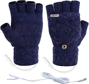 Unisex USB Heated Gloves Mitten Winter Warm Hands Knitting Heated Laptop Gloves,Half&Full Finger Mittens for Women Men Girls Boys- Best Winter Gift Choice (Large Size Dark Blue)
